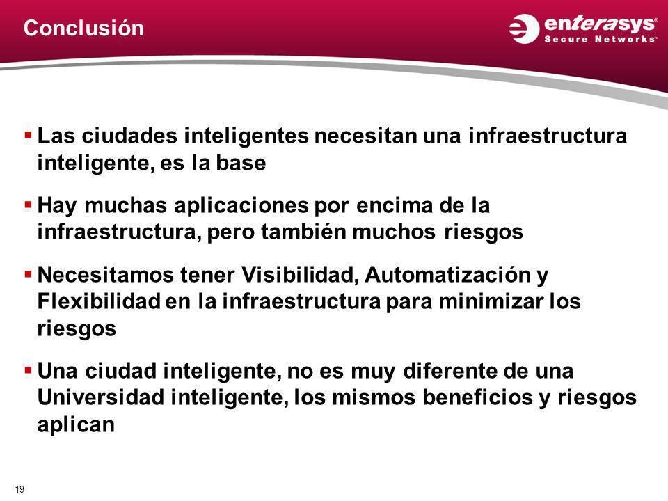 Conclusión Las ciudades inteligentes necesitan una infraestructura inteligente, es la base Hay muchas aplicaciones por encima de la infraestructura, p