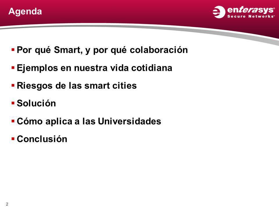 Agenda Por qué Smart, y por qué colaboración Ejemplos en nuestra vida cotidiana Riesgos de las smart cities Solución Cómo aplica a las Universidades C