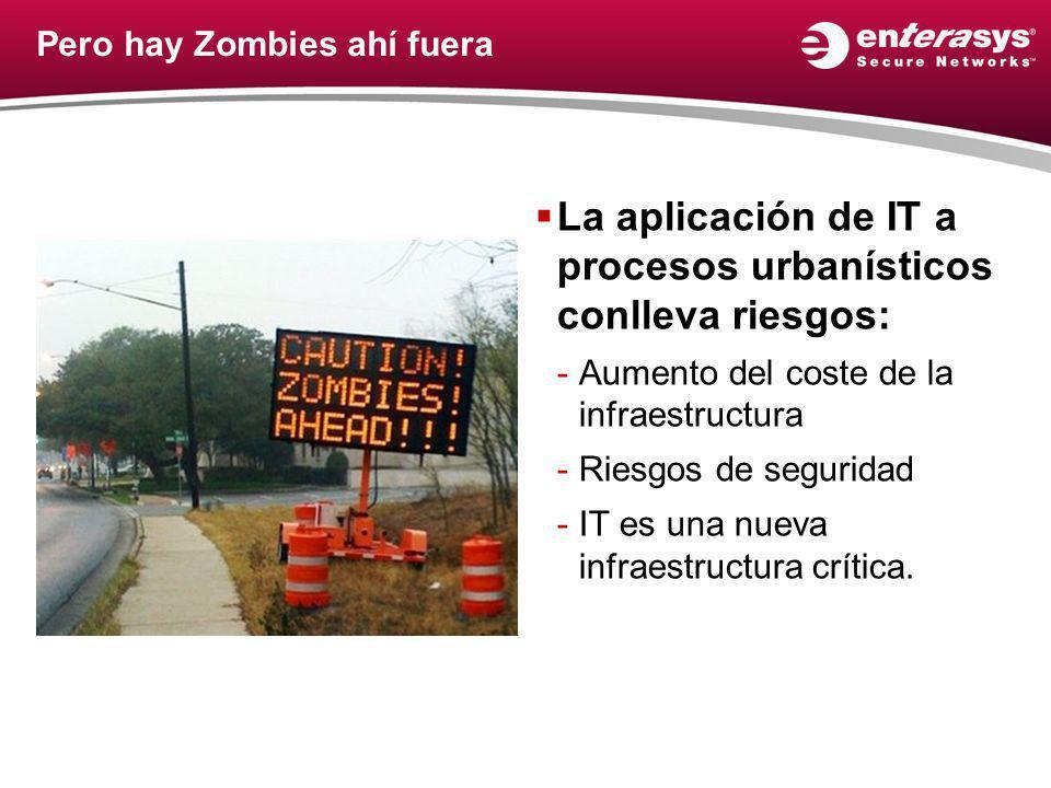 Pero hay Zombies ahí fuera La aplicación de IT a procesos urbanísticos conlleva riesgos: -Aumento del coste de la infraestructura -Riesgos de seguridad -IT es una nueva infraestructura crítica.