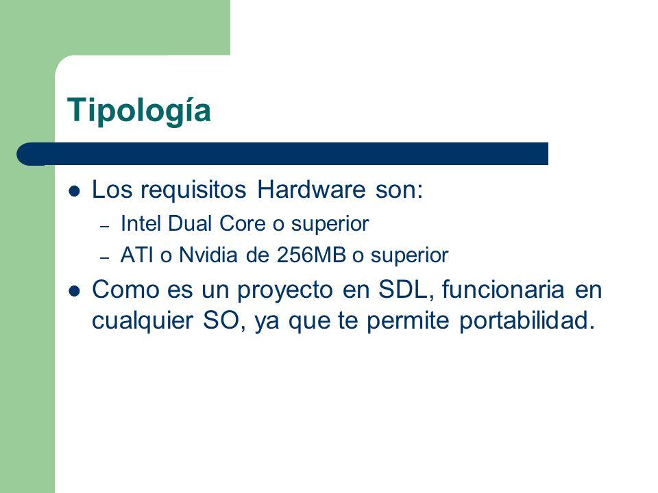 Tipología Los requisitos Hardware son: – Intel Dual Core o superior – ATI o Nvidia de 256MB o superior Como es un proyecto en SDL, funcionaria en cual
