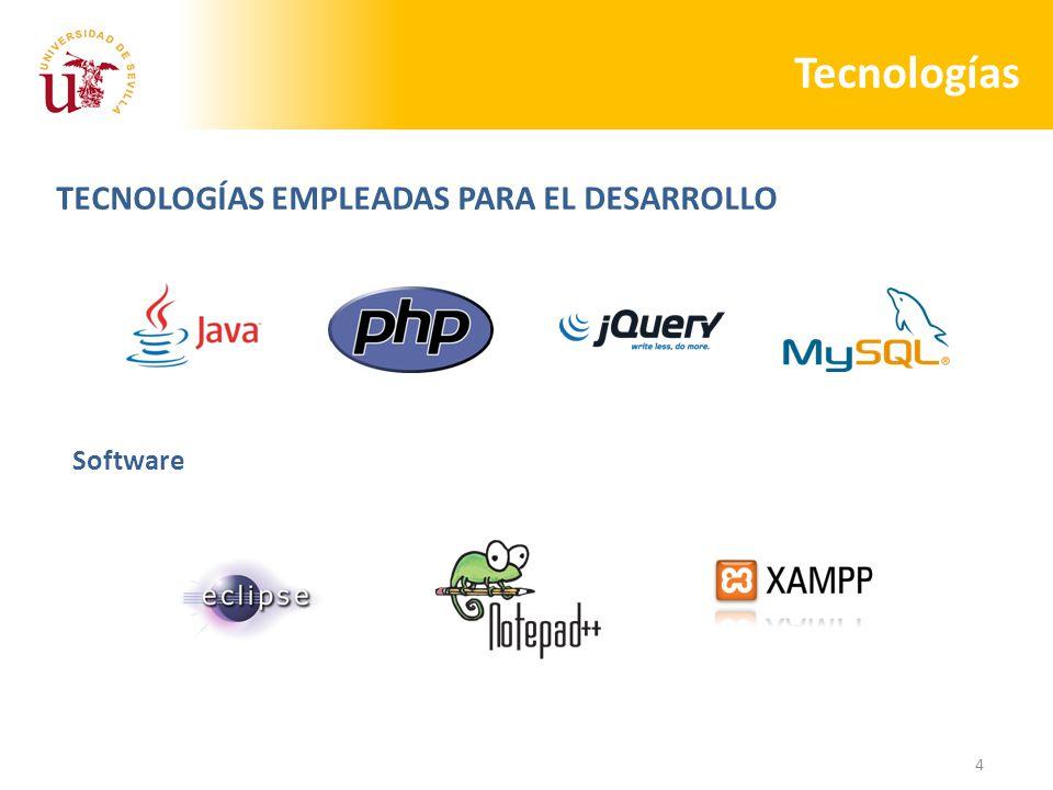 4 Tecnologías TECNOLOGÍAS EMPLEADAS PARA EL DESARROLLO Software