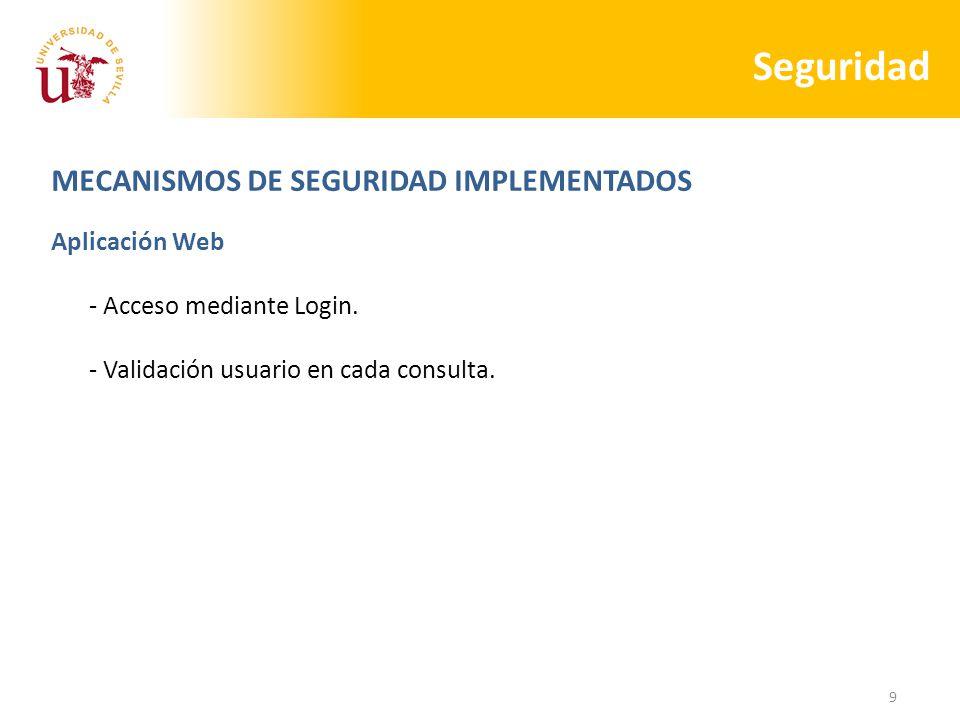 9 Seguridad MECANISMOS DE SEGURIDAD IMPLEMENTADOS Aplicación Web - Acceso mediante Login.