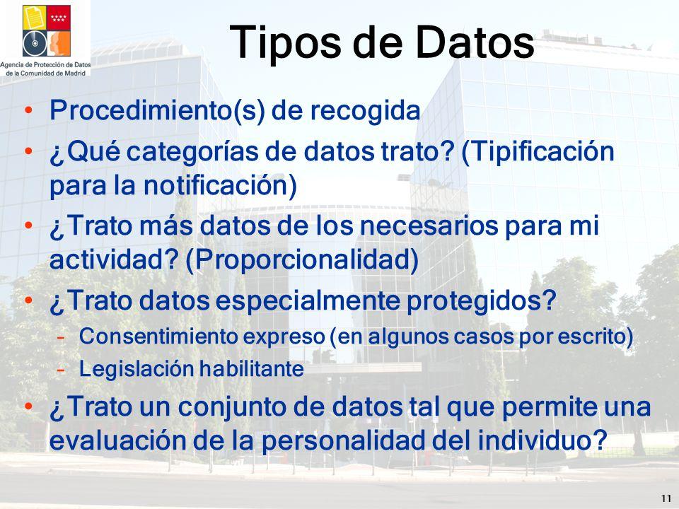 11 Procedimiento(s) de recogida ¿Qué categorías de datos trato.