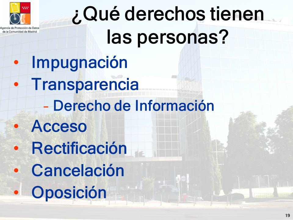 19 Impugnación Transparencia –Derecho de Información Acceso Rectificación Cancelación Oposición ¿Qué derechos tienen las personas