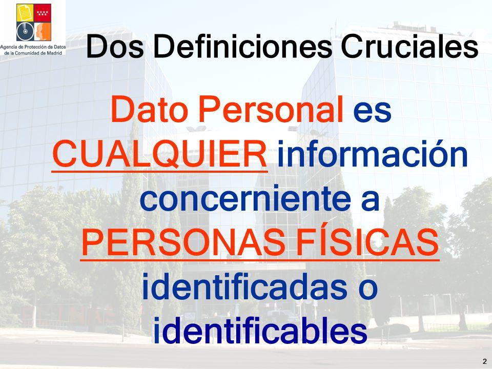 2 Dato Personal es CUALQUIER información concerniente a PERSONAS FÍSICAS identificadas o identificables Dos Definiciones Cruciales