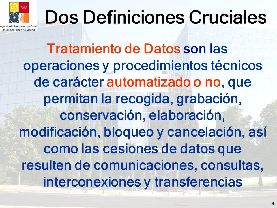 4 Tratamiento de Datos son las operaciones y procedimientos técnicos de carácter automatizado o no, que permitan la recogida, grabación, conservación, elaboración, modificación, bloqueo y cancelación, así como las cesiones de datos que resulten de comunicaciones, consultas, interconexiones y transferencias Dos Definiciones Cruciales
