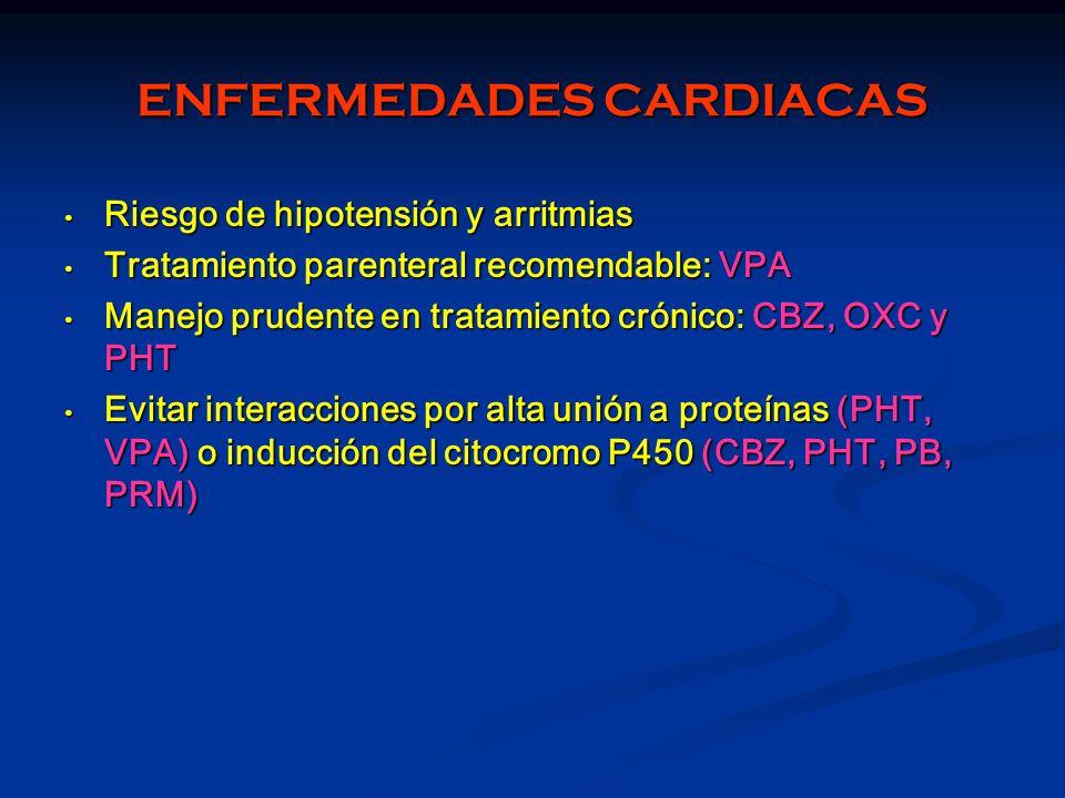 ENFERMEDADES CARDIACAS Riesgo de hipotensión y arritmias Riesgo de hipotensión y arritmias Tratamiento parenteral recomendable: VPA Tratamiento parent