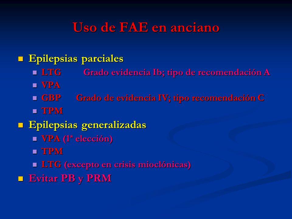 Uso de FAE en anciano Epilepsias parciales Epilepsias parciales LTG Grado evidencia Ib; tipo de recomendación A LTG Grado evidencia Ib; tipo de recome