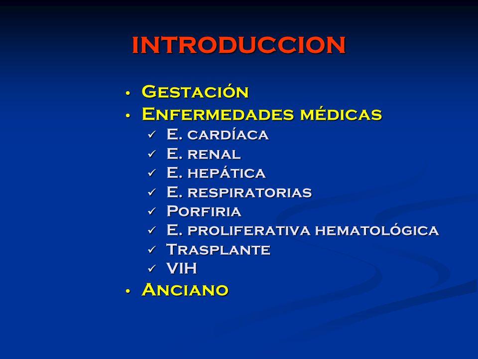 INTRODUCCION Gestación Gestación Enfermedades médicas Enfermedades médicas E. cardíaca E. cardíaca E. renal E. renal E. hepática E. hepática E. respir