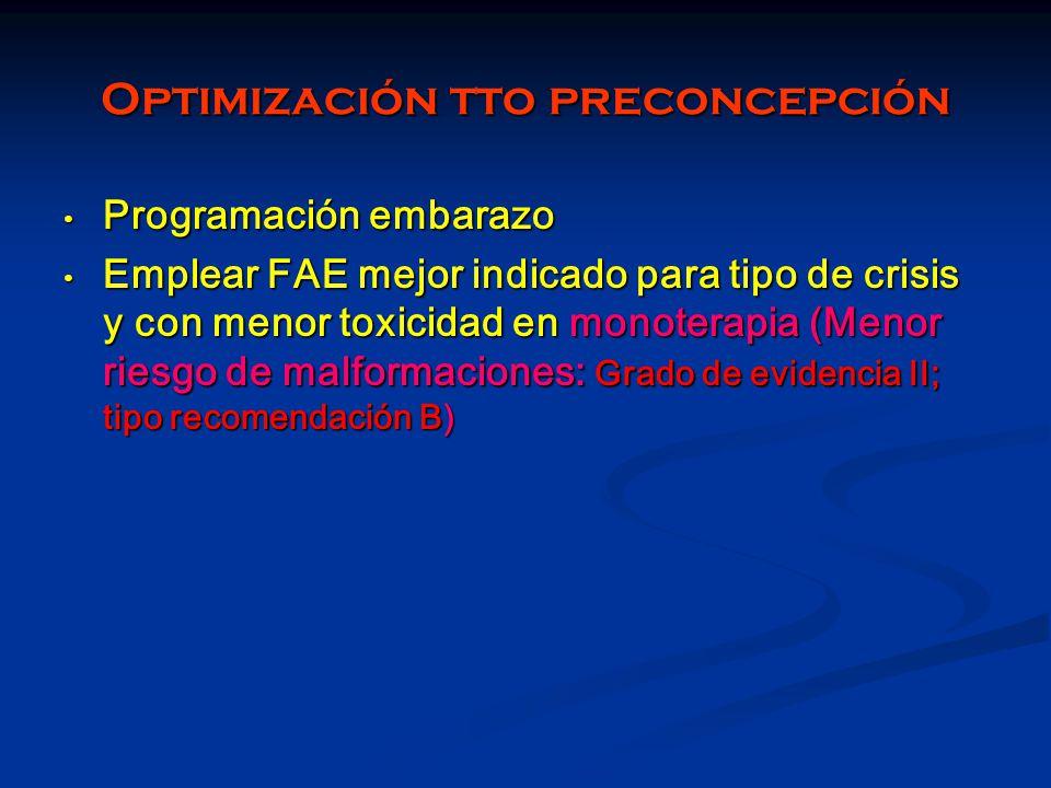 Optimización tto preconcepción Programación embarazo Programación embarazo Emplear FAE mejor indicado para tipo de crisis y con menor toxicidad en mon