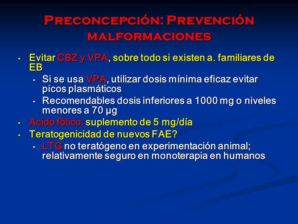Preconcepción: Prevención malformaciones Evitar CBZ y VPA, sobre todo si existen a. familiares de EB Evitar CBZ y VPA, sobre todo si existen a. famili