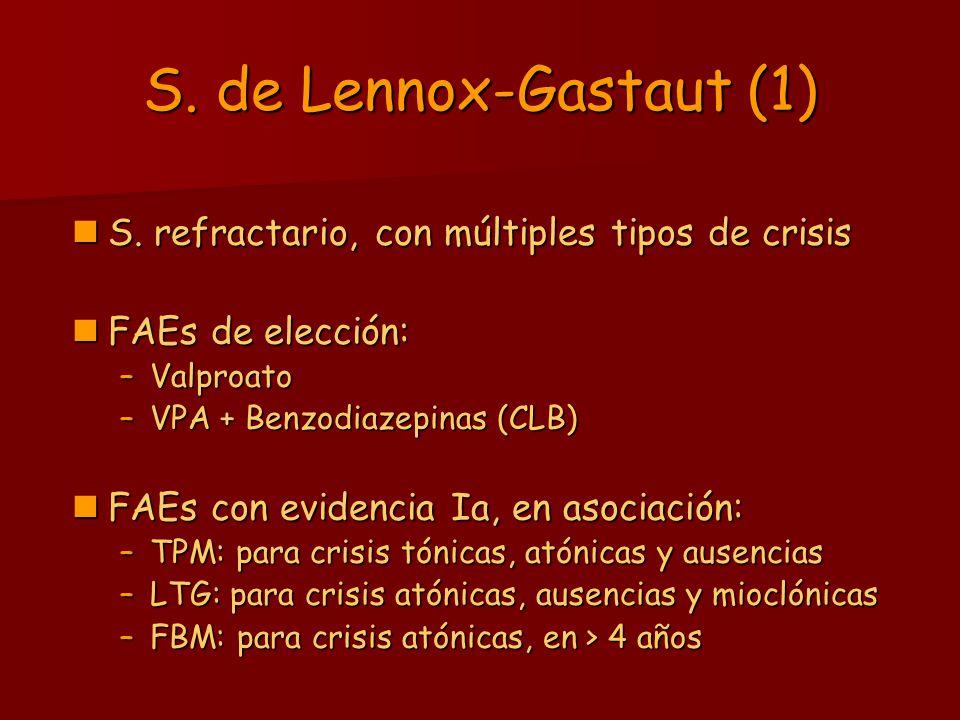 S. de Lennox-Gastaut (1) S. refractario, con múltiples tipos de crisis S. refractario, con múltiples tipos de crisis FAEs de elección: FAEs de elecció