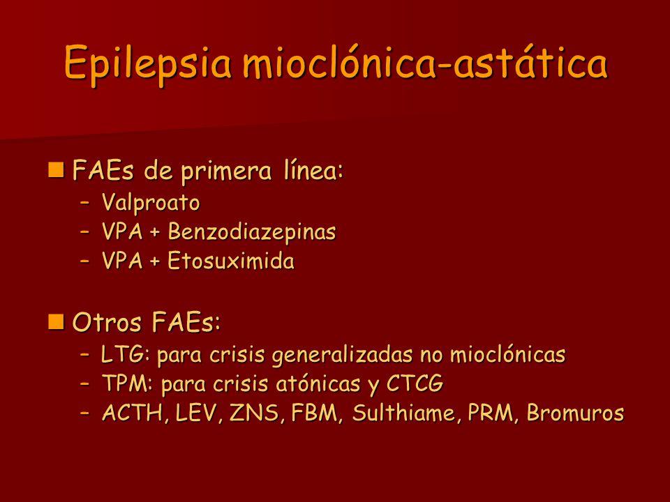 Epilepsia mioclónica-astática FAEs de primera línea: FAEs de primera línea: –Valproato –VPA + Benzodiazepinas –VPA + Etosuximida Otros FAEs: Otros FAE