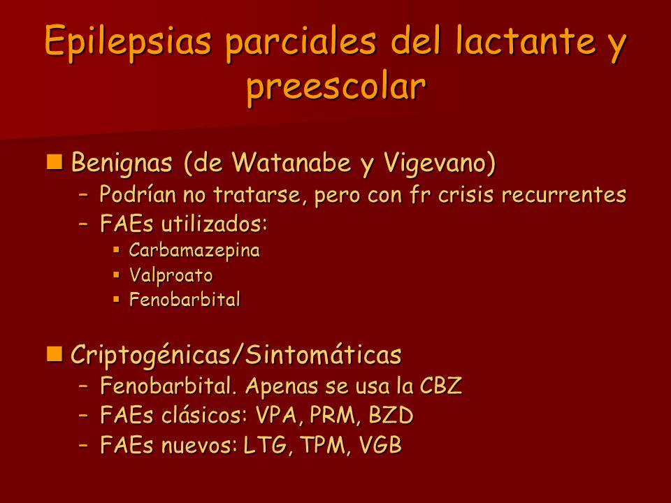 Epilepsias parciales del lactante y preescolar Benignas (de Watanabe y Vigevano) Benignas (de Watanabe y Vigevano) –Podrían no tratarse, pero con fr c