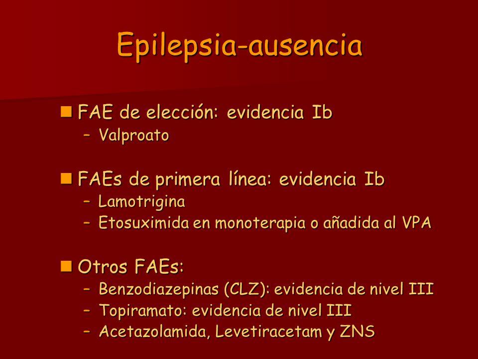 Epilepsia-ausencia FAE de elección: evidencia Ib FAE de elección: evidencia Ib –Valproato FAEs de primera línea: evidencia Ib FAEs de primera línea: e