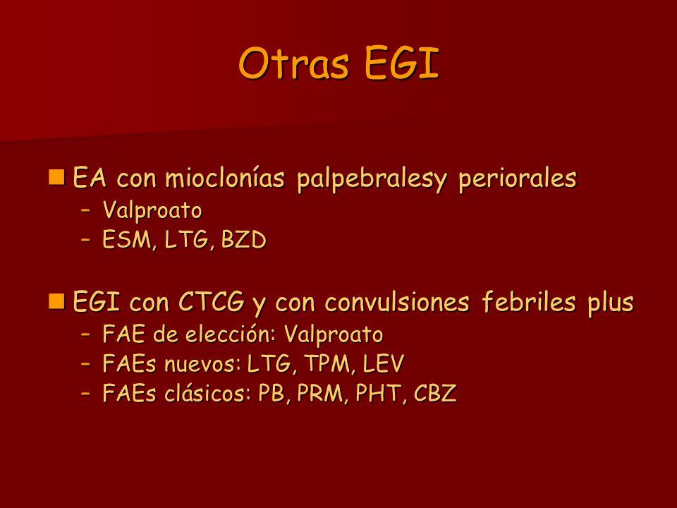 Otras EGI EA con mioclonías palpebralesy periorales EA con mioclonías palpebralesy periorales –Valproato –ESM, LTG, BZD EGI con CTCG y con convulsione