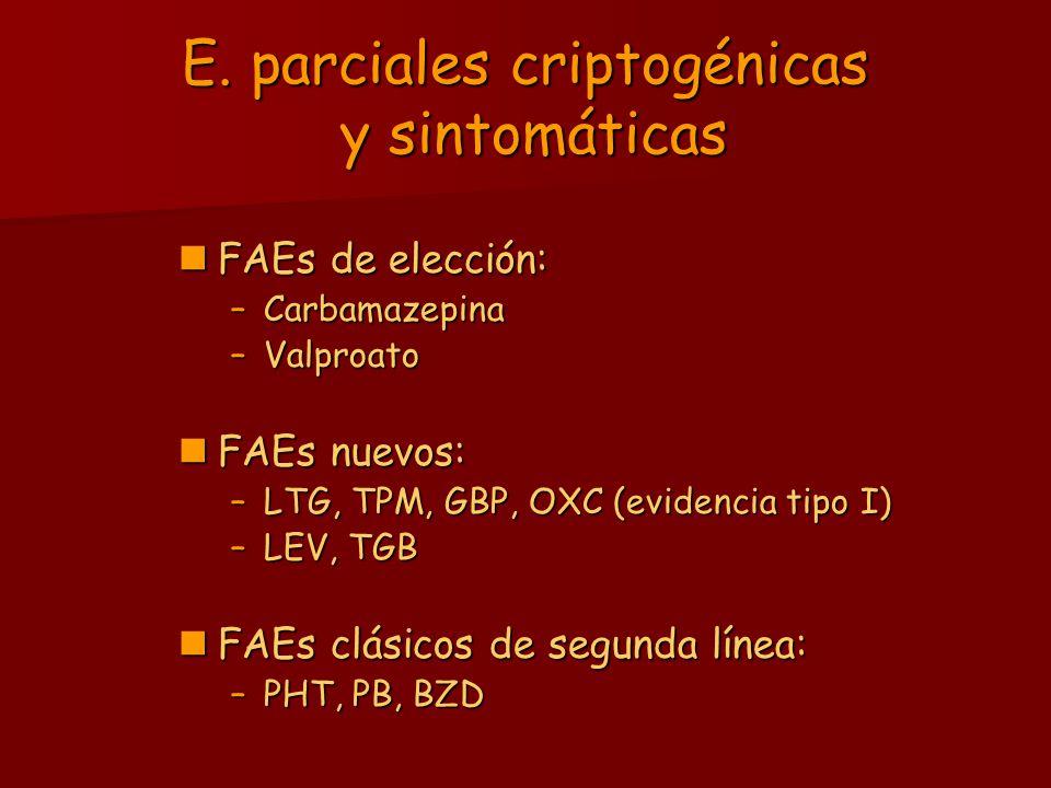 E. parciales criptogénicas y sintomáticas FAEs de elección: FAEs de elección: –Carbamazepina –Valproato FAEs nuevos: FAEs nuevos: –LTG, TPM, GBP, OXC