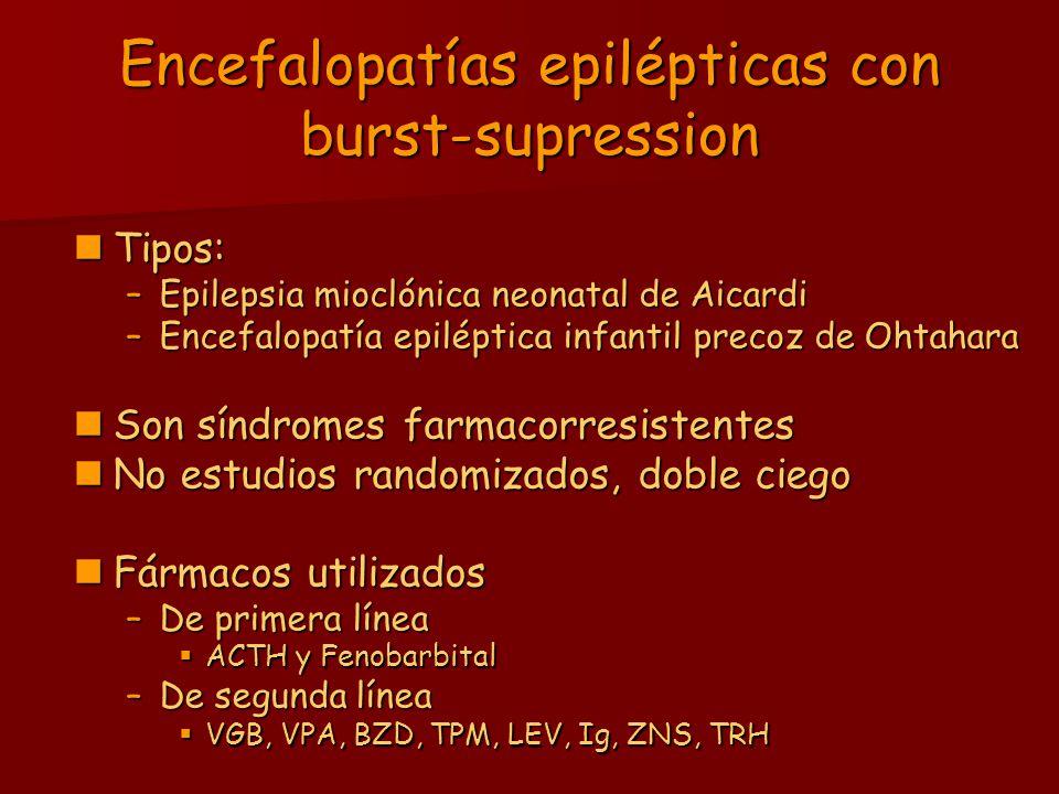 Epilepsias que cursan con POCS Epilepsia parcial benigna atípica Epilepsia parcial benigna atípica –FAE de elección: CBZ –FAEs de primera línea: VPA, CLZ –Otros FAEs: ESM, VGB, Acetazolamida, Sulthiame ESM, VGB, Acetazolamida, Sulthiame ACTH/Corticoides ACTH/Corticoides Síndrome de Landau- Kleffner y EPOCS Síndrome de Landau- Kleffner y EPOCS –FAE de elección: VPA –FAEs de primera línea: BZD, ACTH/CE –Otros: Lamotrigina Topiramato Levetiracetam Inmunoglobulinas