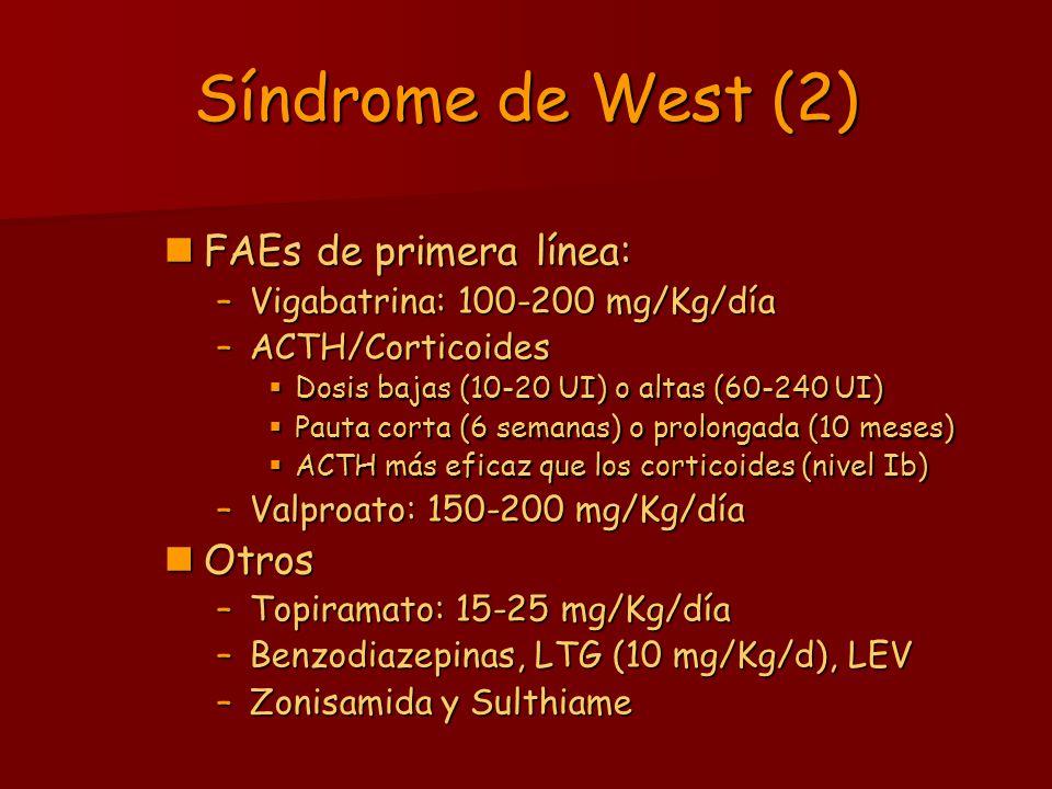 Síndrome de West (2) FAEs de primera línea: FAEs de primera línea: –Vigabatrina: 100-200 mg/Kg/día –ACTH/Corticoides Dosis bajas (10-20 UI) o altas (6