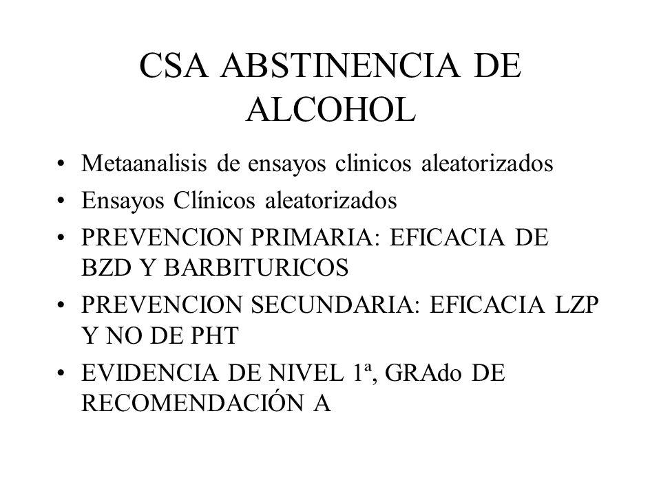CSA ABSTINENCIA DE ALCOHOL Metaanalisis de ensayos clinicos aleatorizados Ensayos Clínicos aleatorizados PREVENCION PRIMARIA: EFICACIA DE BZD Y BARBIT