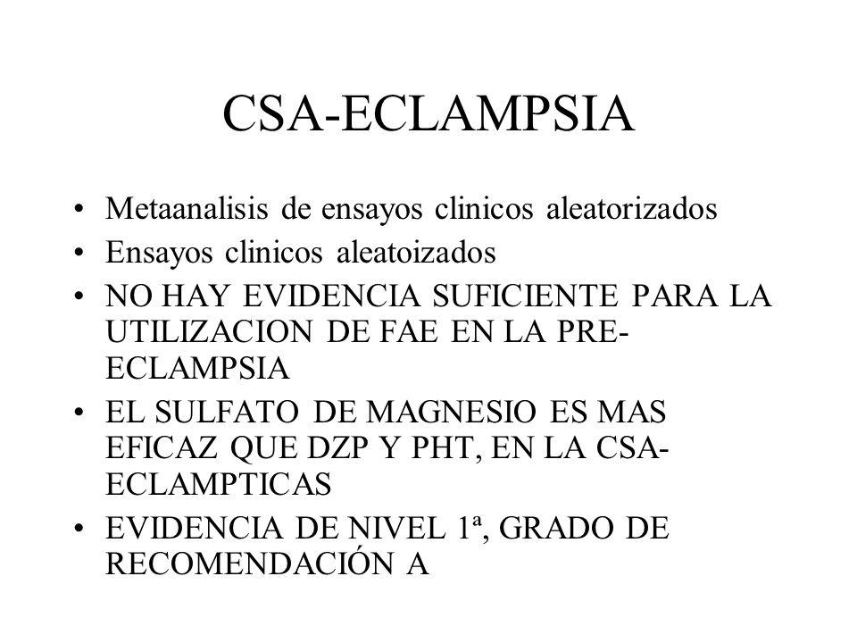 CSA-ECLAMPSIA Metaanalisis de ensayos clinicos aleatorizados Ensayos clinicos aleatoizados NO HAY EVIDENCIA SUFICIENTE PARA LA UTILIZACION DE FAE EN L