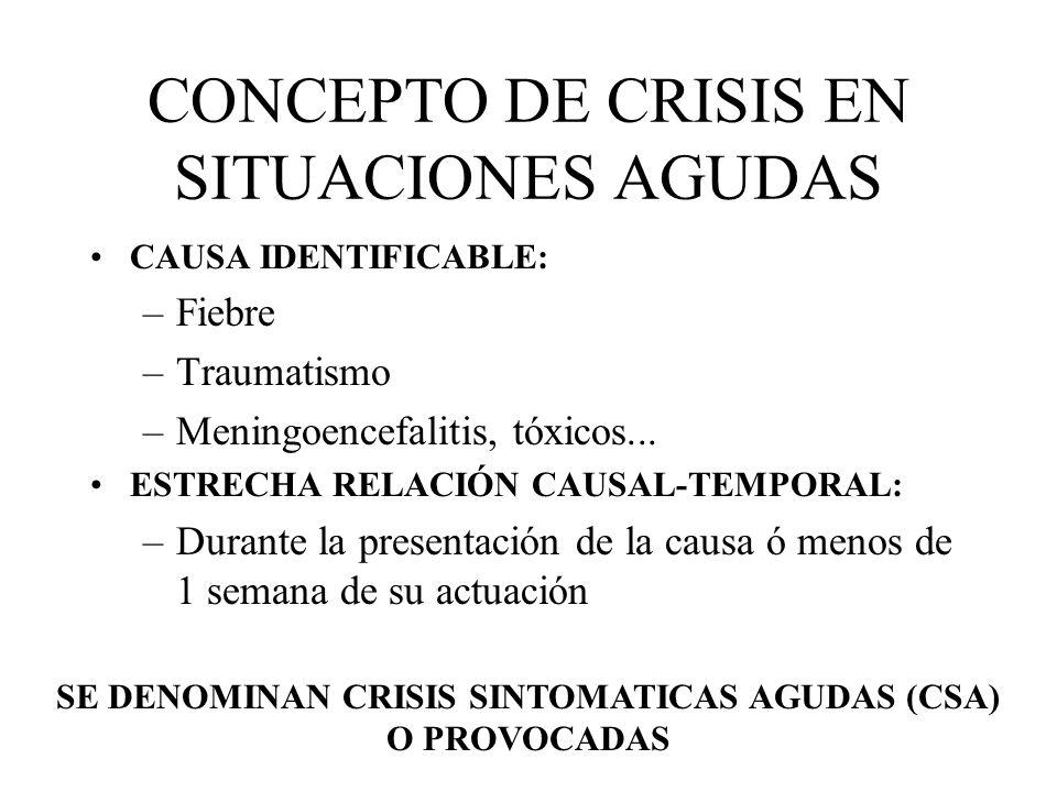 CONCEPTO DE CRISIS EN SITUACIONES AGUDAS CAUSA IDENTIFICABLE: –Fiebre –Traumatismo –Meningoencefalitis, tóxicos... ESTRECHA RELACIÓN CAUSAL-TEMPORAL:
