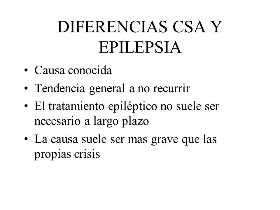DIFERENCIAS CSA Y EPILEPSIA Causa conocida Tendencia general a no recurrir El tratamiento epiléptico no suele ser necesario a largo plazo La causa sue