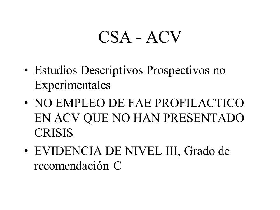 CSA - ACV Estudios Descriptivos Prospectivos no Experimentales NO EMPLEO DE FAE PROFILACTICO EN ACV QUE NO HAN PRESENTADO CRISIS EVIDENCIA DE NIVEL II