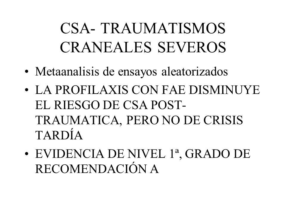 CSA- TRAUMATISMOS CRANEALES SEVEROS Metaanalisis de ensayos aleatorizados LA PROFILAXIS CON FAE DISMINUYE EL RIESGO DE CSA POST- TRAUMATICA, PERO NO D