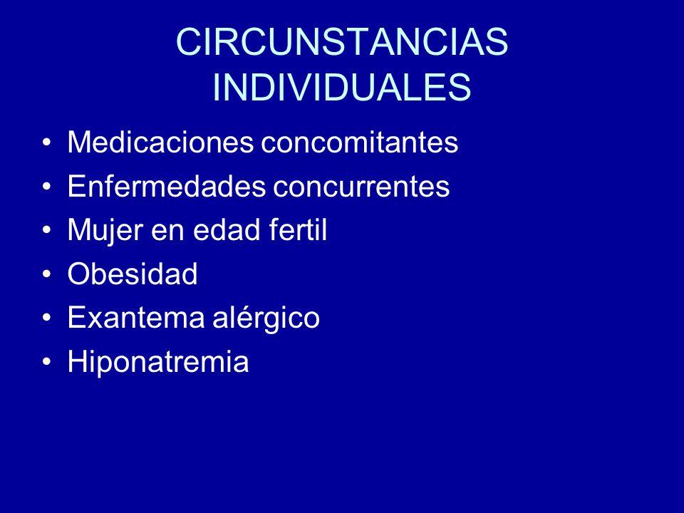 CIRCUNSTANCIAS INDIVIDUALES Medicaciones concomitantes Enfermedades concurrentes Mujer en edad fertil Obesidad Exantema alérgico Hiponatremia