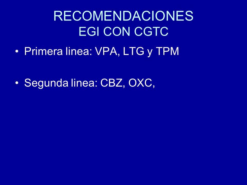 RECOMENDACIONES EGI CON CGTC Primera linea: VPA, LTG y TPM Segunda linea: CBZ, OXC,