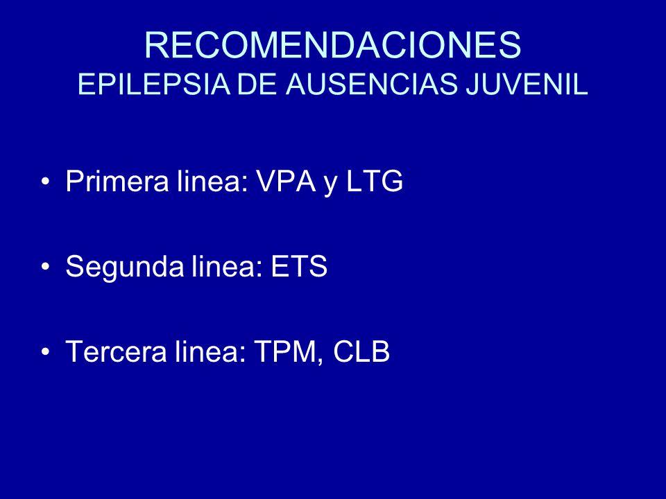 RECOMENDACIONES EPILEPSIA DE AUSENCIAS JUVENIL Primera linea: VPA y LTG Segunda linea: ETS Tercera linea: TPM, CLB