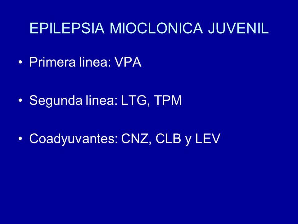EPILEPSIA MIOCLONICA JUVENIL Primera linea: VPA Segunda linea: LTG, TPM Coadyuvantes: CNZ, CLB y LEV