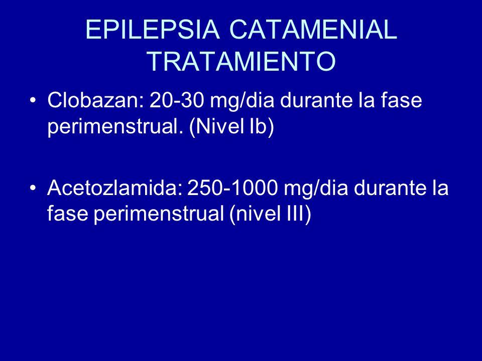 EPILEPSIA CATAMENIAL TRATAMIENTO Clobazan: 20-30 mg/dia durante la fase perimenstrual. (Nivel Ib) Acetozlamida: 250-1000 mg/dia durante la fase perime