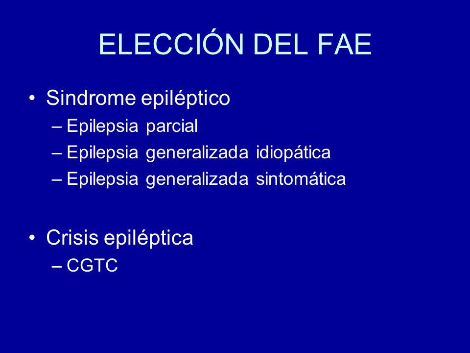 ELECCIÓN DEL FAE Sindrome epiléptico –Epilepsia parcial –Epilepsia generalizada idiopática –Epilepsia generalizada sintomática Crisis epiléptica –CGTC