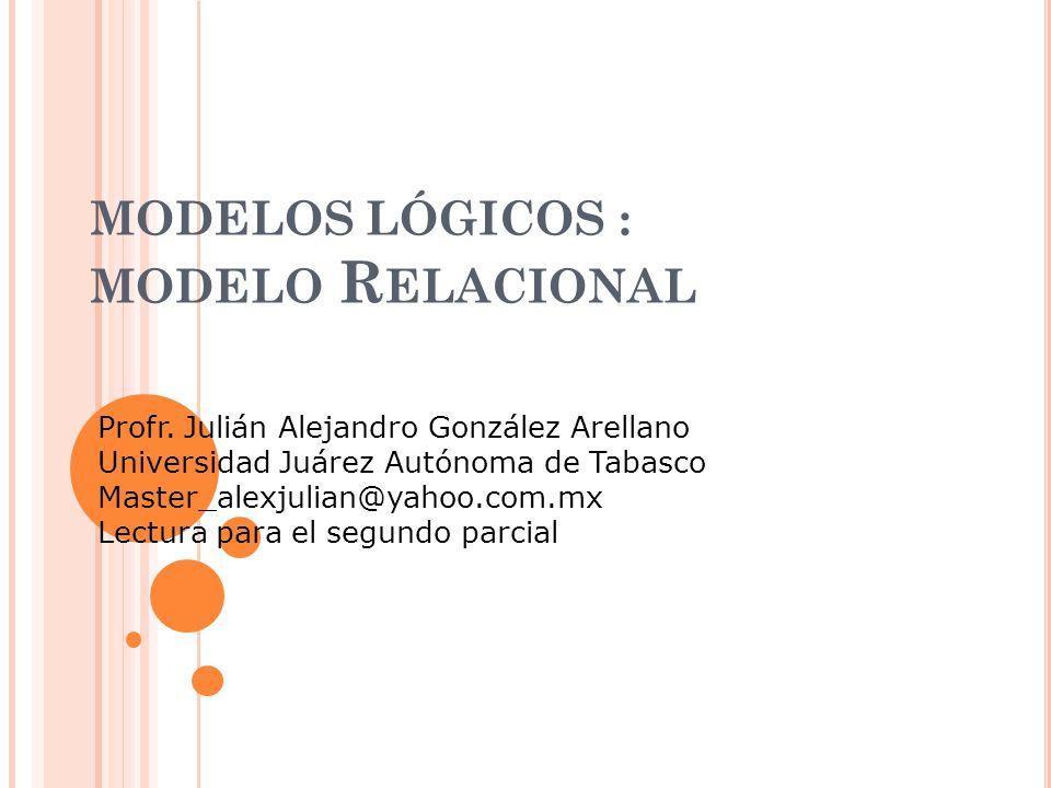 MODELOS LÓGICOS : MODELO R ELACIONAL Profr.