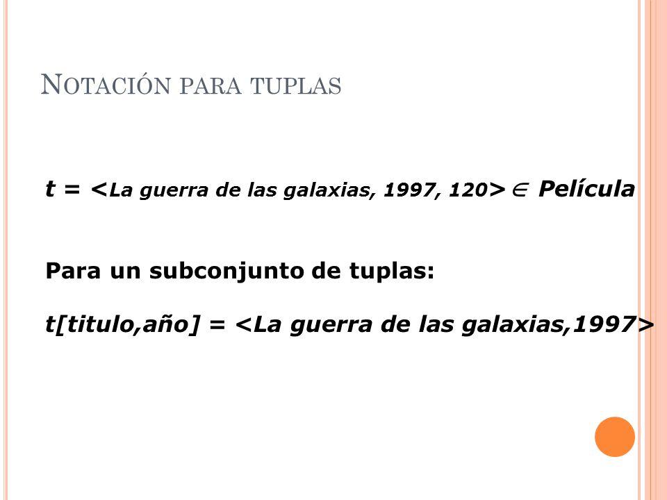 N OTACIÓN PARA TUPLAS t = Película Para un subconjunto de tuplas: t[titulo,año] =