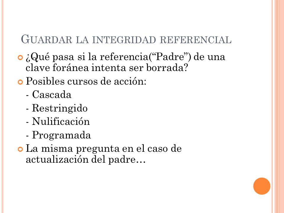 G UARDAR LA INTEGRIDAD REFERENCIAL ¿Qué pasa si la referencia(Padre) de una clave foránea intenta ser borrada.