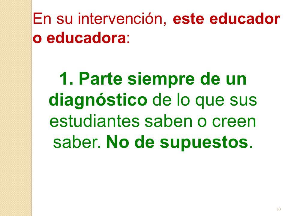1. Parte siempre de un diagnóstico de lo que sus estudiantes saben o creen saber. No de supuestos. En su intervención, este educador o educadora: 10