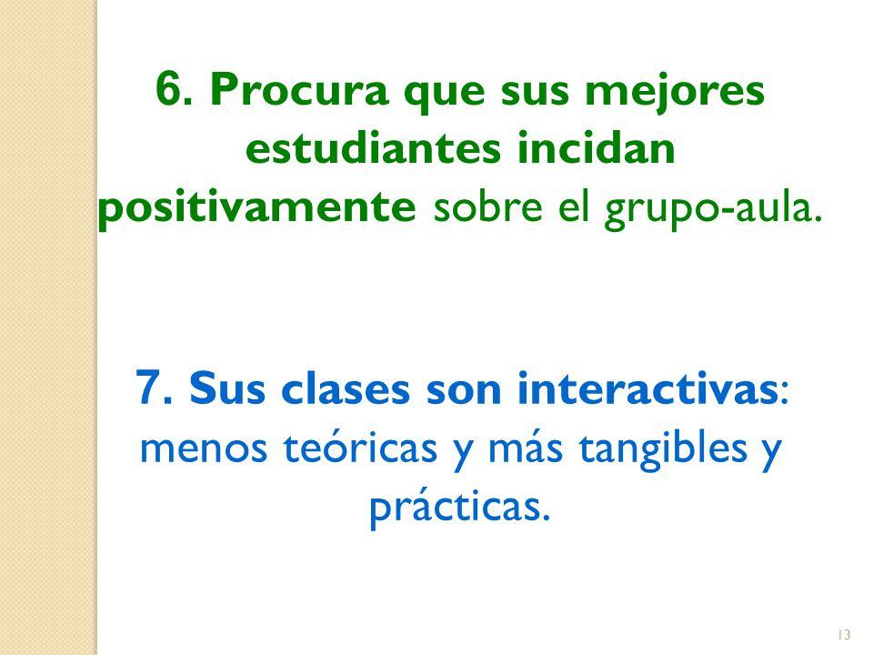 6. Procura que sus mejores estudiantes incidan positivamente sobre el grupo-aula. 7. Sus clases son interactivas: menos teóricas y más tangibles y prá