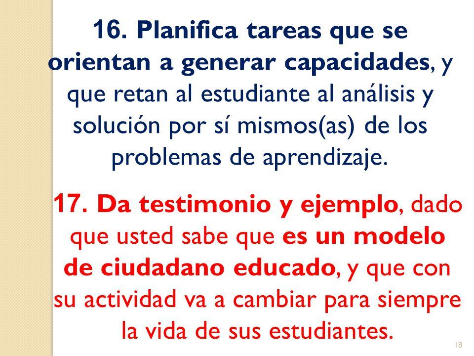 16. Planifica tareas que se orientan a generar capacidades, y que retan al estudiante al análisis y solución por sí mismos(as) de los problemas de apr