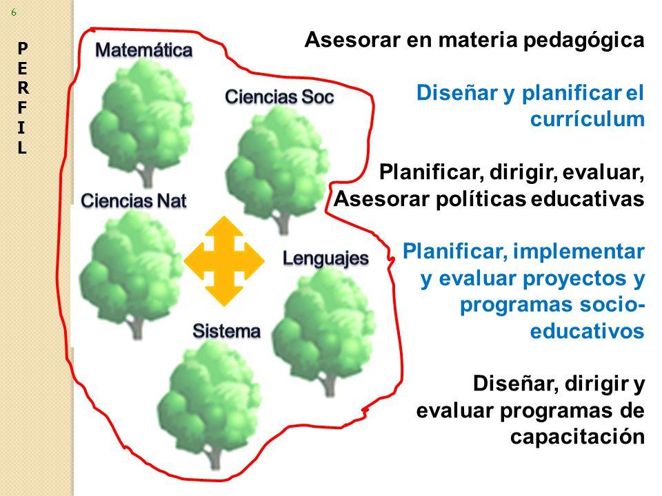 Asesorar en materia pedagógica Diseñar y planificar el currículum Planificar, dirigir, evaluar, Asesorar políticas educativas Planificar, implementar