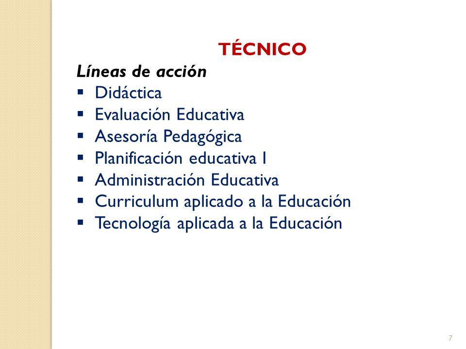 TÉCNICO Líneas de acción Didáctica Evaluación Educativa Asesoría Pedagógica Planificación educativa I Administración Educativa Curriculum aplicado a l