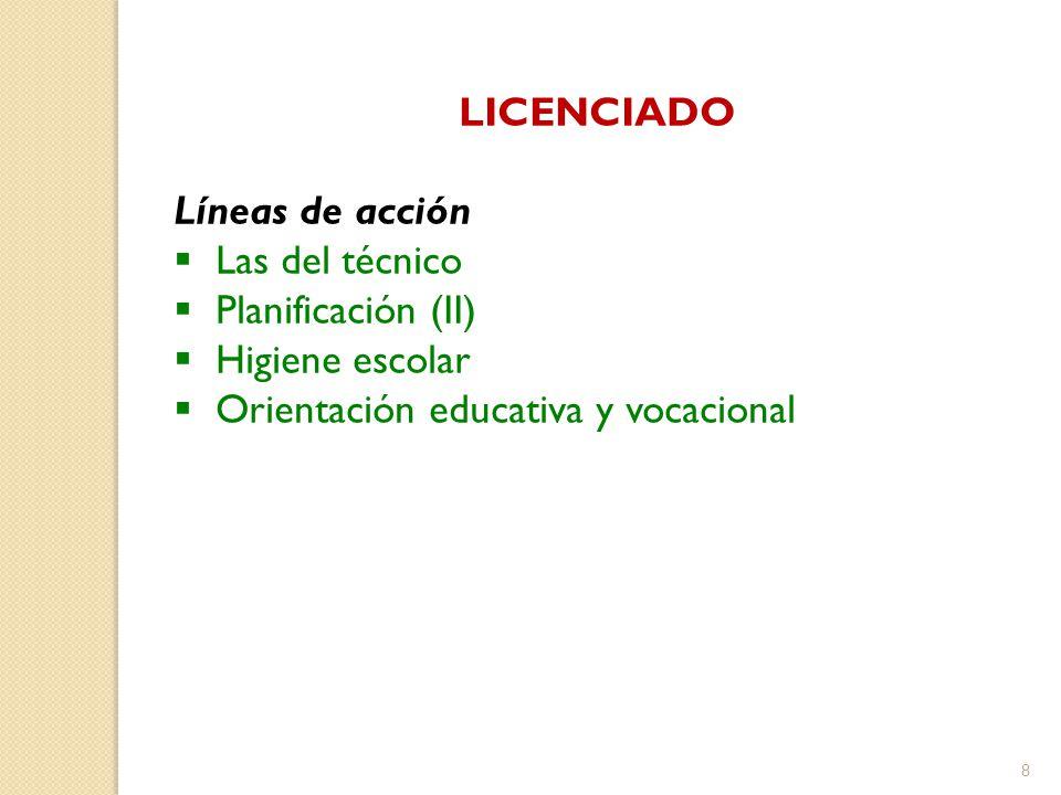 LICENCIADO Líneas de acción Las del técnico Planificación (II) Higiene escolar Orientación educativa y vocacional 8