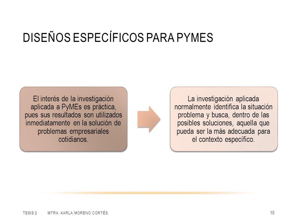 DISEÑOS ESPECÍFICOS PARA PYMES TESIS 2 MTRA. KARLA MORENO CORTÉS. 10 El interés de la investigación aplicada a PyMEs es práctica, pues sus resultados