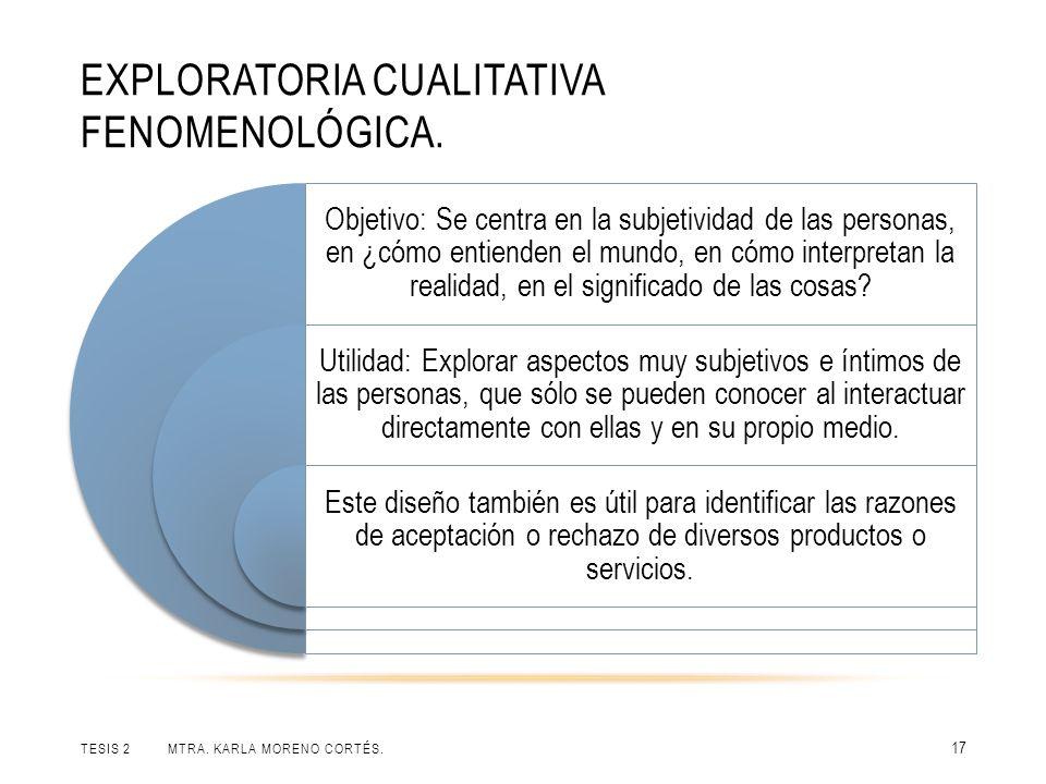 EXPLORATORIA CUALITATIVA FENOMENOLÓGICA. TESIS 2 MTRA. KARLA MORENO CORTÉS. 17 Objetivo: Se centra en la subjetividad de las personas, en ¿cómo entien