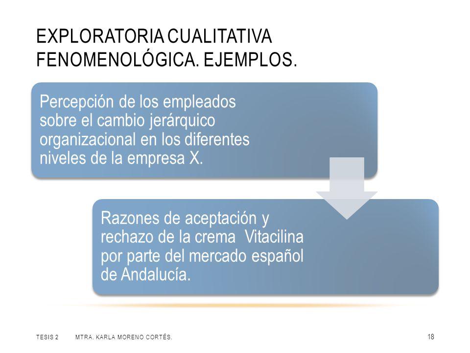EXPLORATORIA CUALITATIVA FENOMENOLÓGICA.EJEMPLOS.