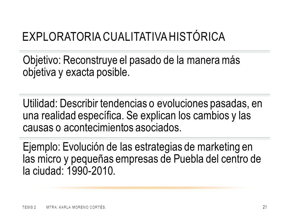 EXPLORATORIA CUALITATIVA HISTÓRICA TESIS 2 MTRA. KARLA MORENO CORTÉS. 21 Objetivo: Reconstruye el pasado de la manera más objetiva y exacta posible. U