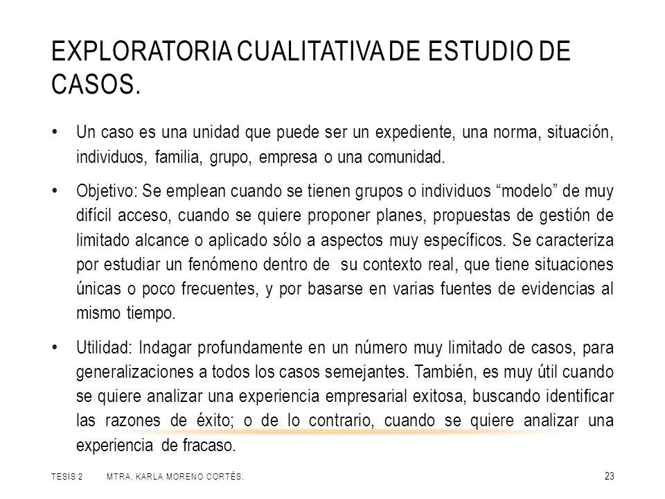 EXPLORATORIA CUALITATIVA DE ESTUDIO DE CASOS. TESIS 2 MTRA. KARLA MORENO CORTÉS. 23 Un caso es una unidad que puede ser un expediente, una norma, situ