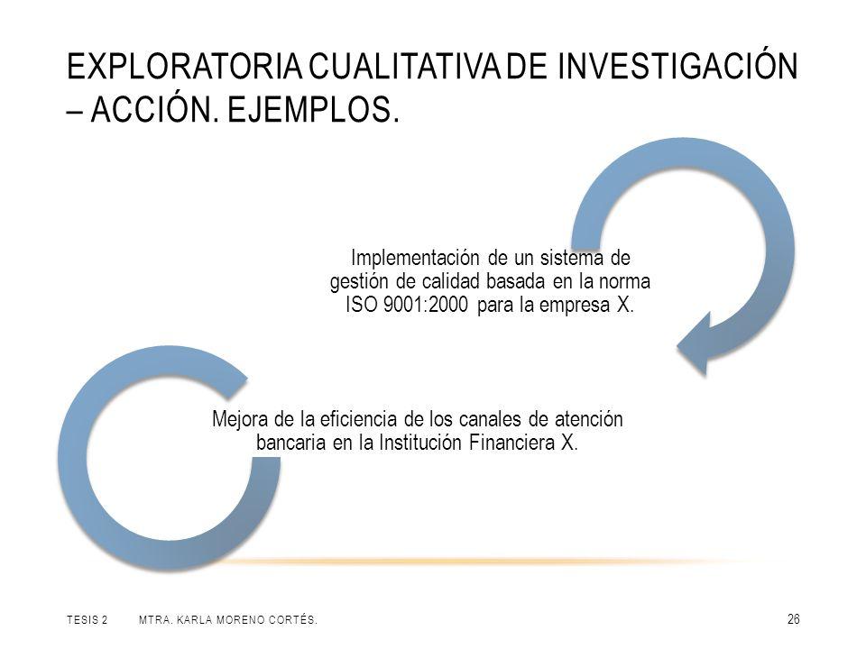 EXPLORATORIA CUALITATIVA DE INVESTIGACIÓN – ACCIÓN. EJEMPLOS. TESIS 2 MTRA. KARLA MORENO CORTÉS. 26 Implementación de un sistema de gestión de calidad